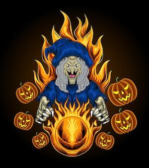 Иллюстрация женской ведьмы с огненным шаром в руке. концепция хэллоуина