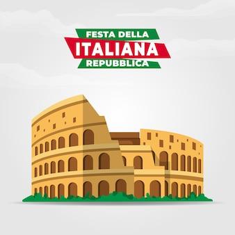 フェスタデッラ共和国記念日イタリアーナのイラスト。イタリア共和国記念日。