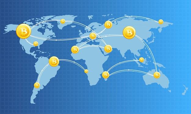 Иллюстрация изображения концепции финансовых технологий с биткойнами на фоне карты мира в светлых тонах. цифровая валюта, криптовалюта, цифровые деньги и концепция биткойн.