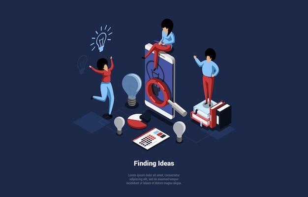 Иллюстрация поиска новых идей концепции в мультяшном стиле 3d.