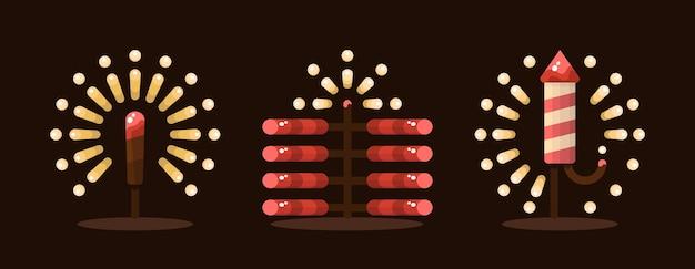 디 왈 리 디파 발리 인도 빛의 축제에서 불꽃 놀이의 그림.