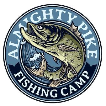 釣りトーナメントバッジのロゴの波にジャンプする魚のイラスト