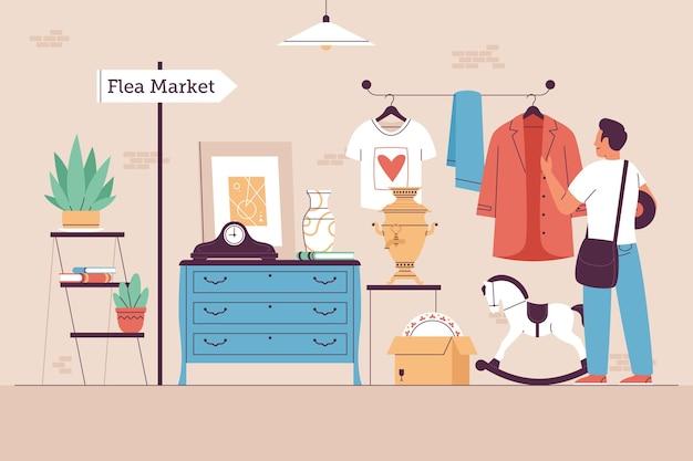 さまざまなオブジェクトとフラットなアンティーク市場のイラスト