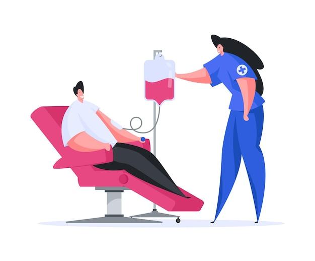 Иллюстрация плоской мультяшной женщины в медицинской форме, переливающей кровь пациенту мужского пола