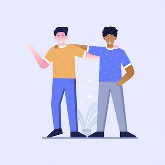 人種差別のない友情のフラットなデザインのイラスト