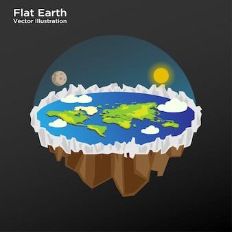 평평한 지구 이론 레이아웃 벡터 템플릿의 그림