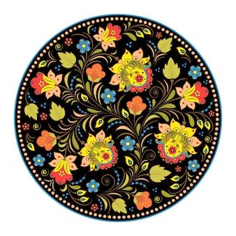 Иллюстрация цветочного традиционного русского образца. хохлома.