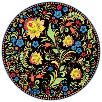 Иллюстрация цветочного традиционного русского образца.