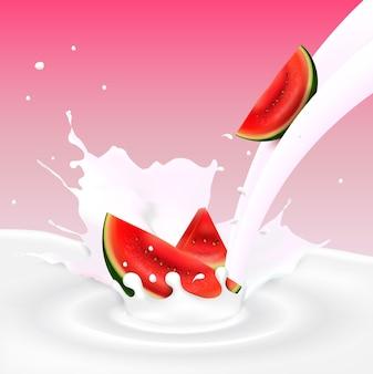 수박 조각으로 흐르는 우유 스플래시의 그림