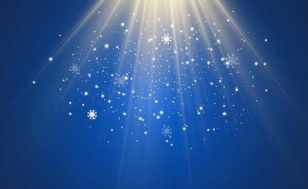 Иллюстрация летящего снега на прозрачном фоне. естественное явление снегопада или метели.