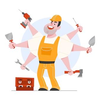 Иллюстрация прораба характера. профессиональный работник в шлеме и униформе, удерживая инструменты. разнорабочий и специалист. иллюстрации шаржа