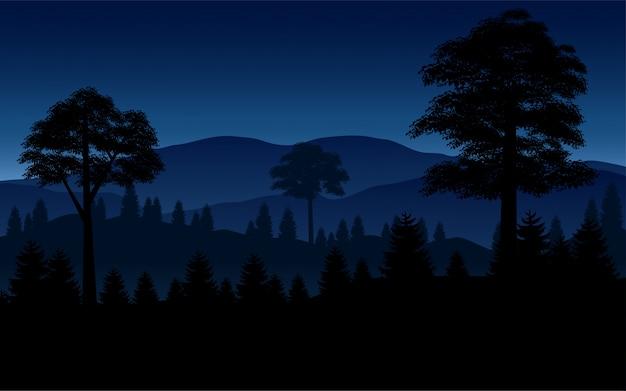 Иллюстрация леса и горы в ночи
