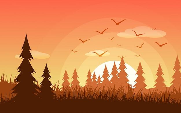 飛ぶ鳥と夕日の森のイラスト