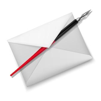 Иллюстрация перьевой ручки и белого конверта.