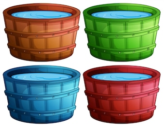 Illustration of four different color buckets