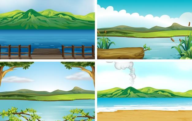 4つの異なる湖の風景のイラスト
