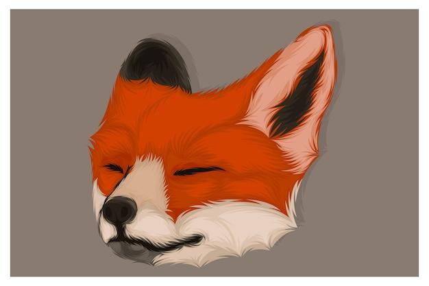 Иллюстрация лисы, закрывающей глаза
