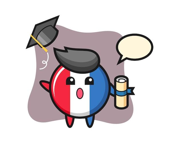 卒業で帽子を投げるフランスの旗バッジ漫画のイラスト