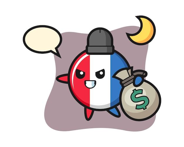 Иллюстрация мультяшного значка флага франции с украденными деньгами