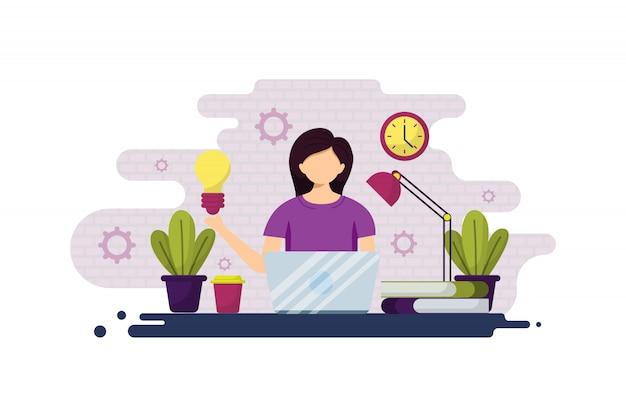 Иллюстрация фрилансера, деловой женщины и удаленной работы