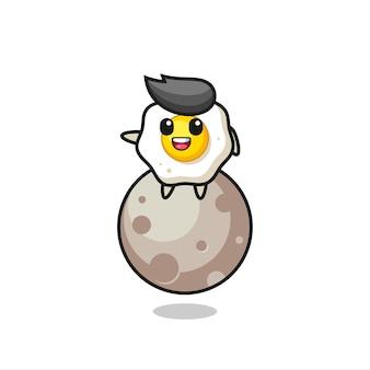 달에 앉아 있는 계란 프라이 만화, 티셔츠, 스티커, 로고 요소를 위한 귀여운 스타일 디자인