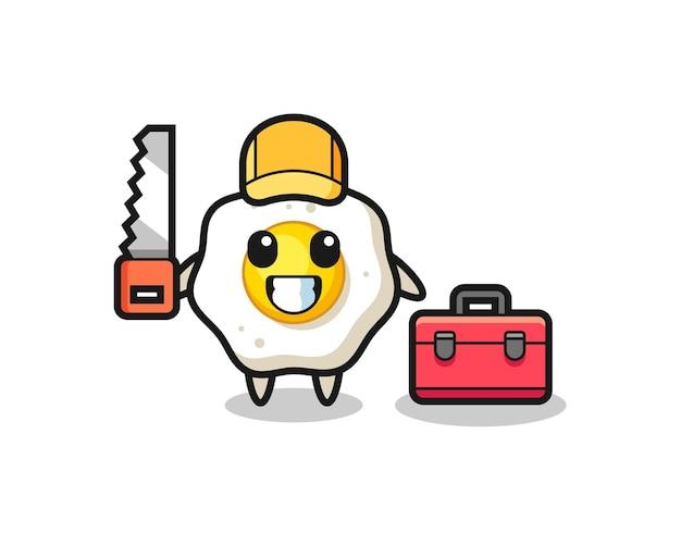 튀긴 계란 캐릭터를 목공으로 그린 그림, 티셔츠, 스티커, 로고 요소를 위한 귀여운 스타일 디자인
