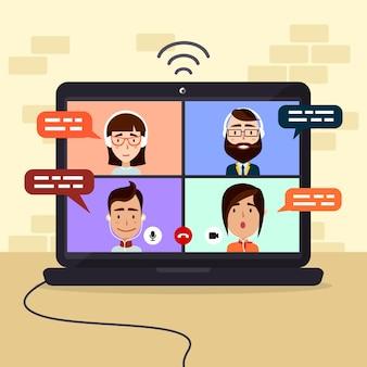 Иллюстрация друзей видео звонки на ноутбуке