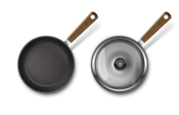 Иллюстрация сковороды со стеклянной крышкой и без изоляции