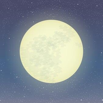 満月のイラストレーション。星空の星空に月光