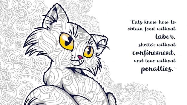 Zentangleで引用符付きの面白い漫画の猫の落書きのイラスト