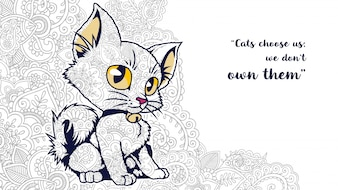 Illustration of funny cartoon cat