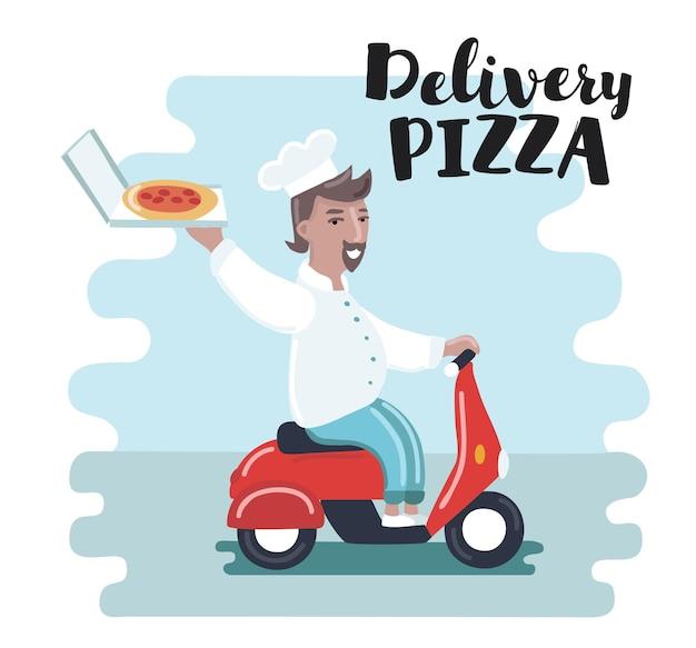 赤いバイクに乗って面白い漫画のシェフ料理人のイラスト。ピザの宅配