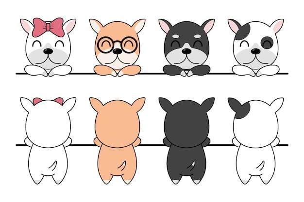 面白い漫画の犬の品種セットのイラスト。