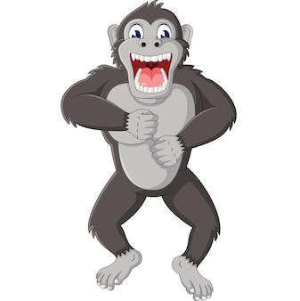 Illustration of funny gorilla cartoon