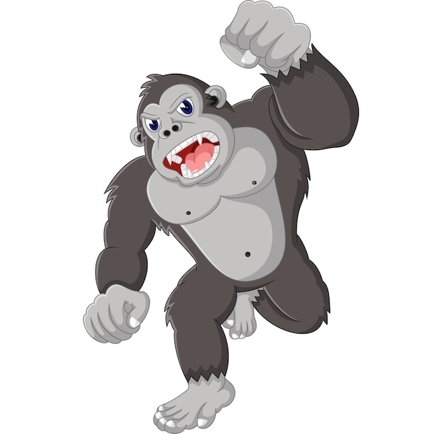 Иллюстрация смешной мультфильм горилл Premium векторы
