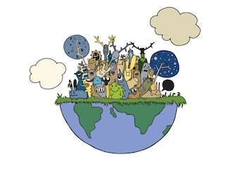 Illustration of funny Monsters Population with continents of Our World