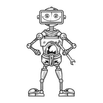 面白いロボットのイラスト