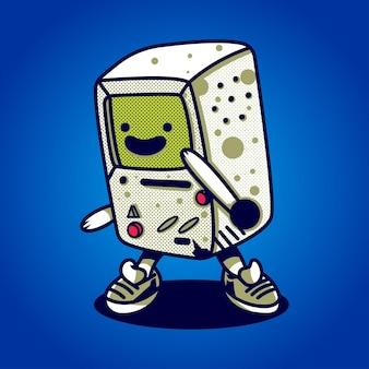 티셔츠, 스티커 및 관련 비즈니스에 적합한 게임 콘솔의 그림