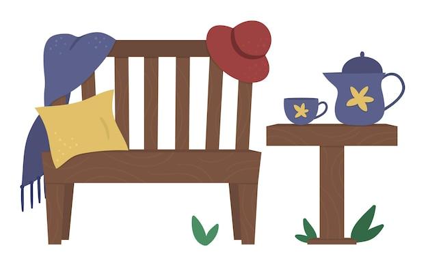 격자 무늬, 쿠션, 모자, 주전자와 컵 테이블 정원 벤치의 그림. 정원 작업 후 휴식을 취하십시오. 원예 휴식 후.