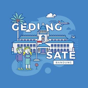 Иллюстрация гедунг сате бандунг, достопримечательность индонезии