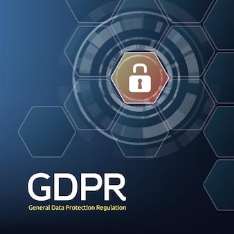 Иллюстрация общего регламента по защите данных или аббревиатуры gdpr и висячий замок на фоне сот. концепция законов о конфиденциальности для пользователей