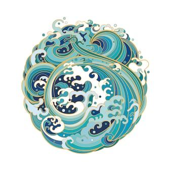 Иллюстрация круга геометрической формы с морскими волнами в традиционном восточном стиле.