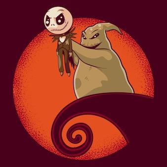 캐릭터, 스티커, 티셔츠 삽화를 위한 유령과 할로윈 인형의 삽화