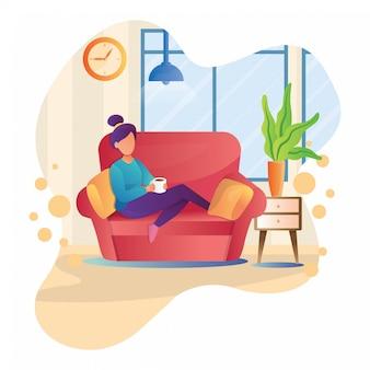 女の子のイラストがソファーでコーヒーを飲む