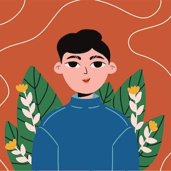 花と女の子の肖像画のイラスト