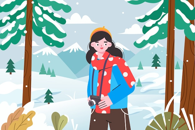 겨울에 설경을 촬영하는 소녀의 그림