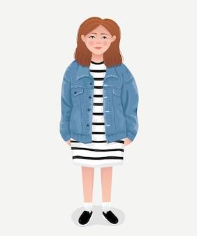 デニムジャケットを着ている女の子のイラスト