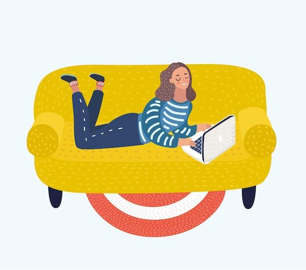 ソファの上のラップトップを持つ少女のイラスト女性はラップトップで彼女の胃の上に横たわっています。