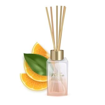 Иллюстрация стеклянной банки с ароматическими палочками палки цитрусового аромата реалистичные иллюстрации