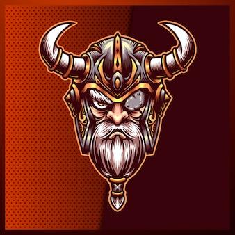 赤の背景にヘルメット、斧、鎧と神オーディンバイキングのイラスト。手描きイラスト